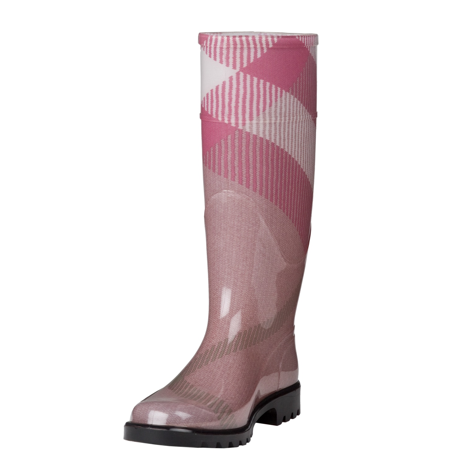 Burberry Women's Pink Exploded Check Rain Boots