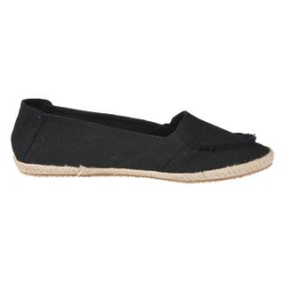 Refresh by Beston Women's 'Lala' Black Canvas Boat Shoes
