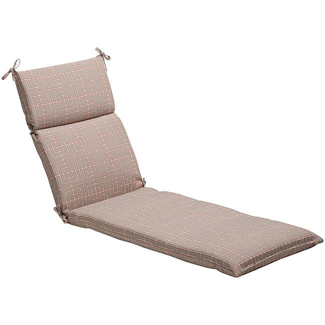 Pillow Perfect Grey/ Coral Geometric Outdoor Chaise Lounge Cushion at Sears.com