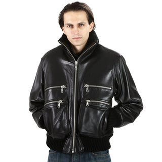 United Face Men's Black Leather Bomber Jacket