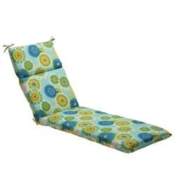 Pillow Perfect Blue/ Green Contemporary Floral Outdoor Chaise Lounge Cushion