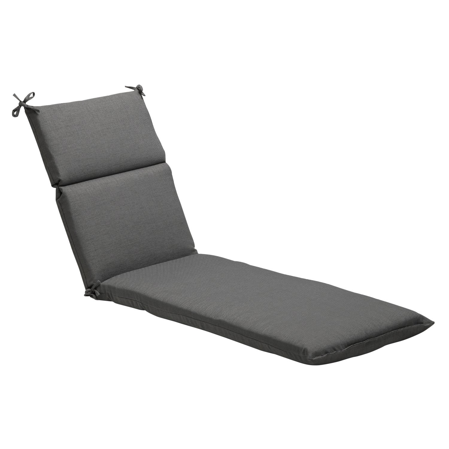 Solid Grey Textured Outdoor Chaise Lounge Cushion