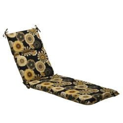 Black/Yellow Floral Outdoor Chaise Lounge Cushion