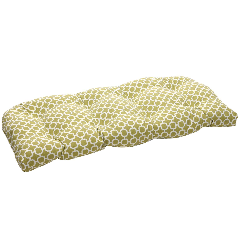 Green/White Geometric Outdoor Wicker Loveseat Cushion