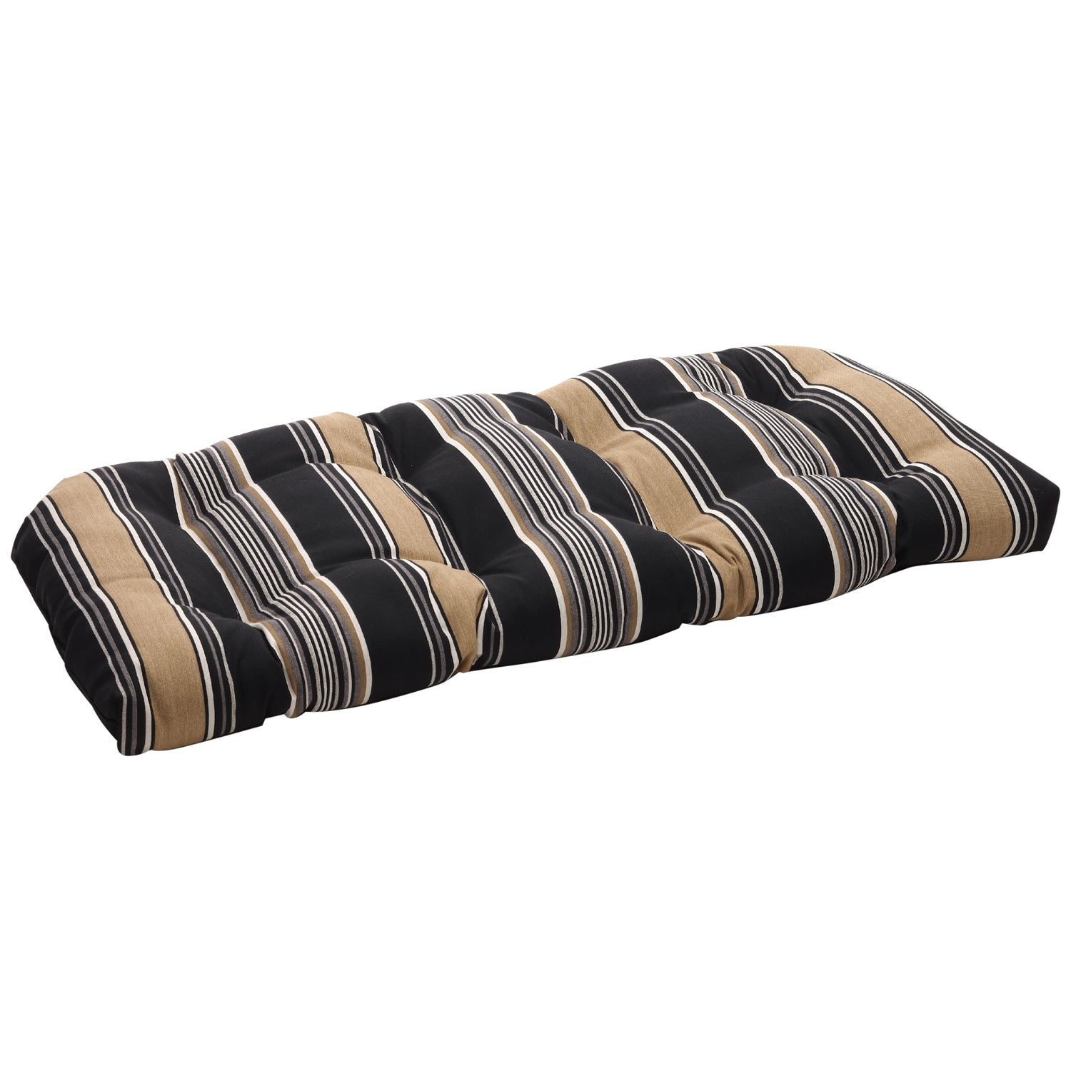 Pillow Perfect Black/ Tan Striped Tufted Outdoor Wicker Loveseat Cushion