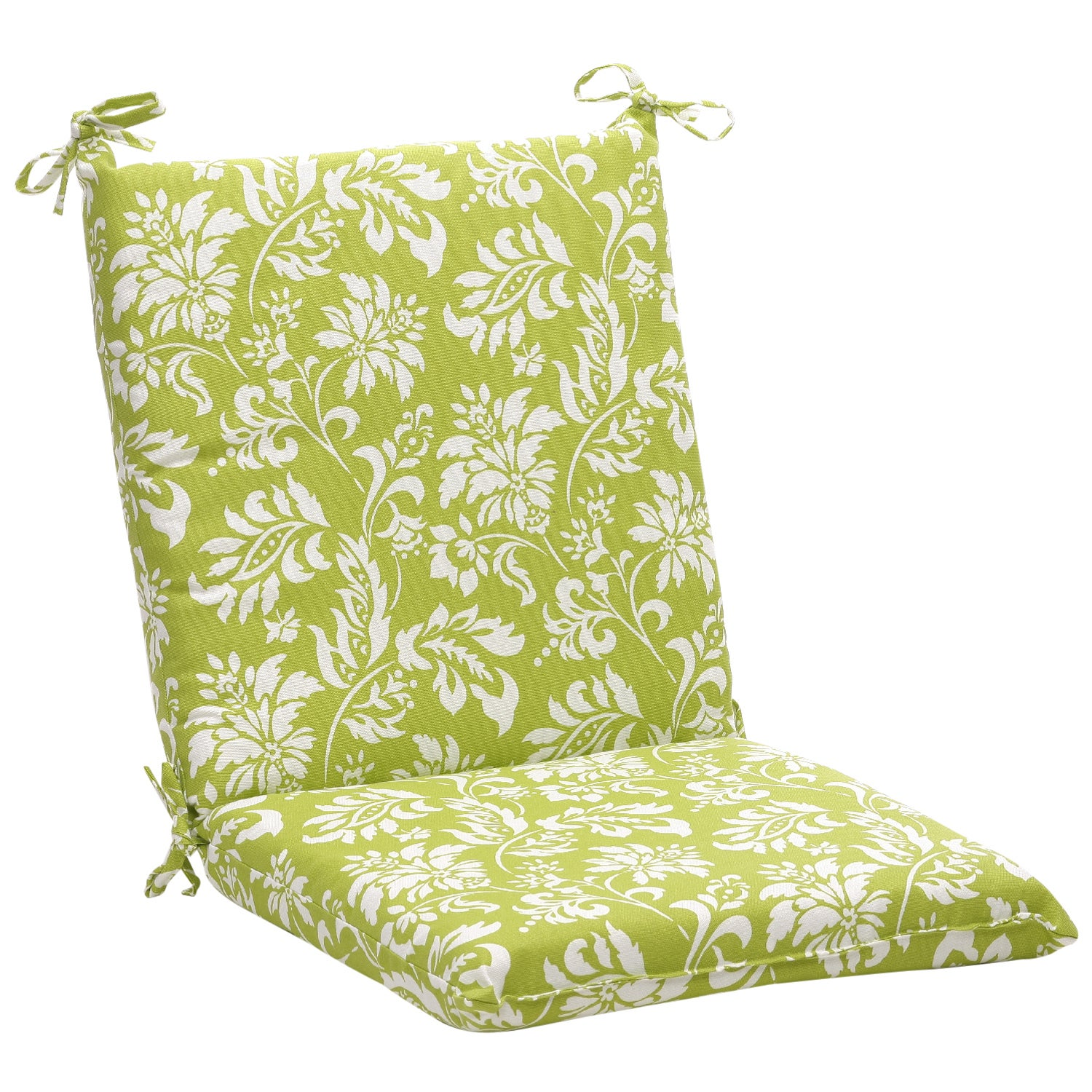 squared green white floral outdoor chair cushion
