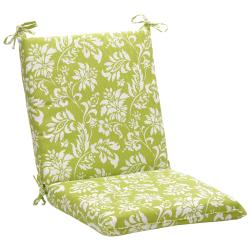 Squared Green/ White Floral Outdoor Chair Cushion
