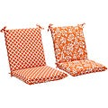 Squared Reversible Orange/ White Geometric/ Floral Outdoor Chair Cushion