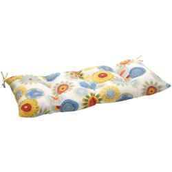 Multicolored Floral Polyester Outdoor Tufted Loveseat Cushion