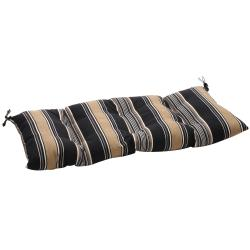 Black/ Tan Stripe Outdoor Tufted Loveseat Cushion
