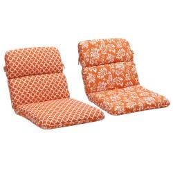 Pillow Perfect Orange/ White Geometric/Floral Reversible Outdoor Cushion