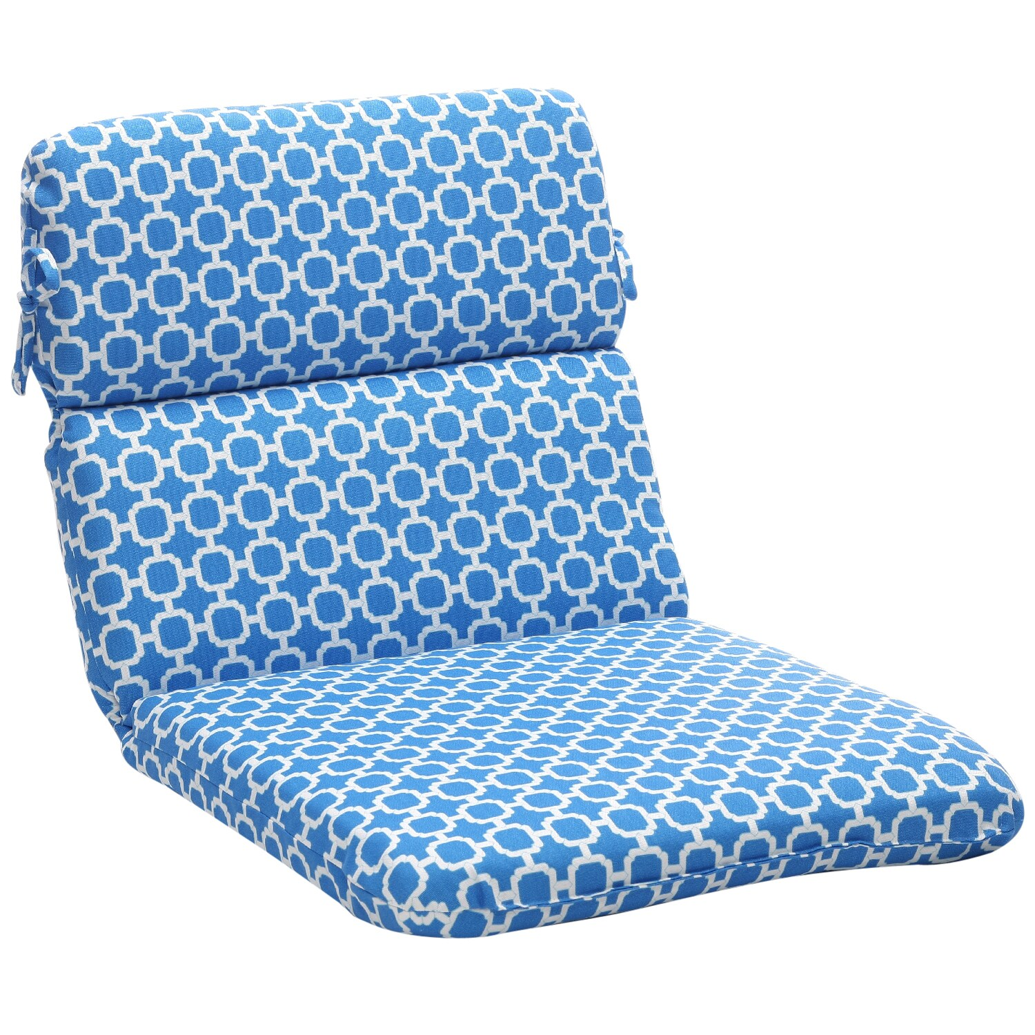 Pillow Perfect Blue/ White Geometric Outdoor Cushion