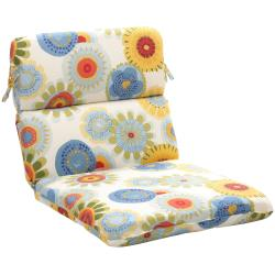 Polyester Rounded Multicolored Floral Outdoor Chair Cushion