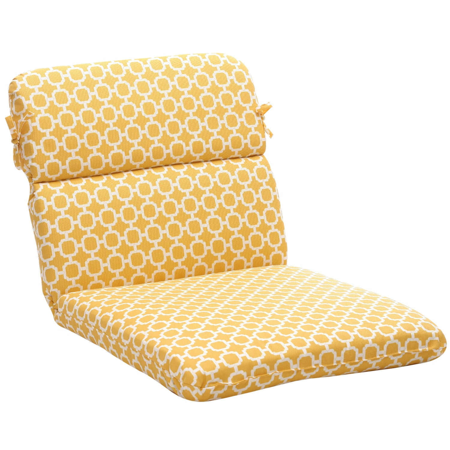 Rounded Yellow White Geometric Outdoor Chair Cushion