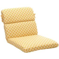 Rounded Yellow/ White Geometric Outdoor Chair Cushion