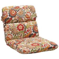 Rounded Multicolored Floral Outdoor Chair Cushion