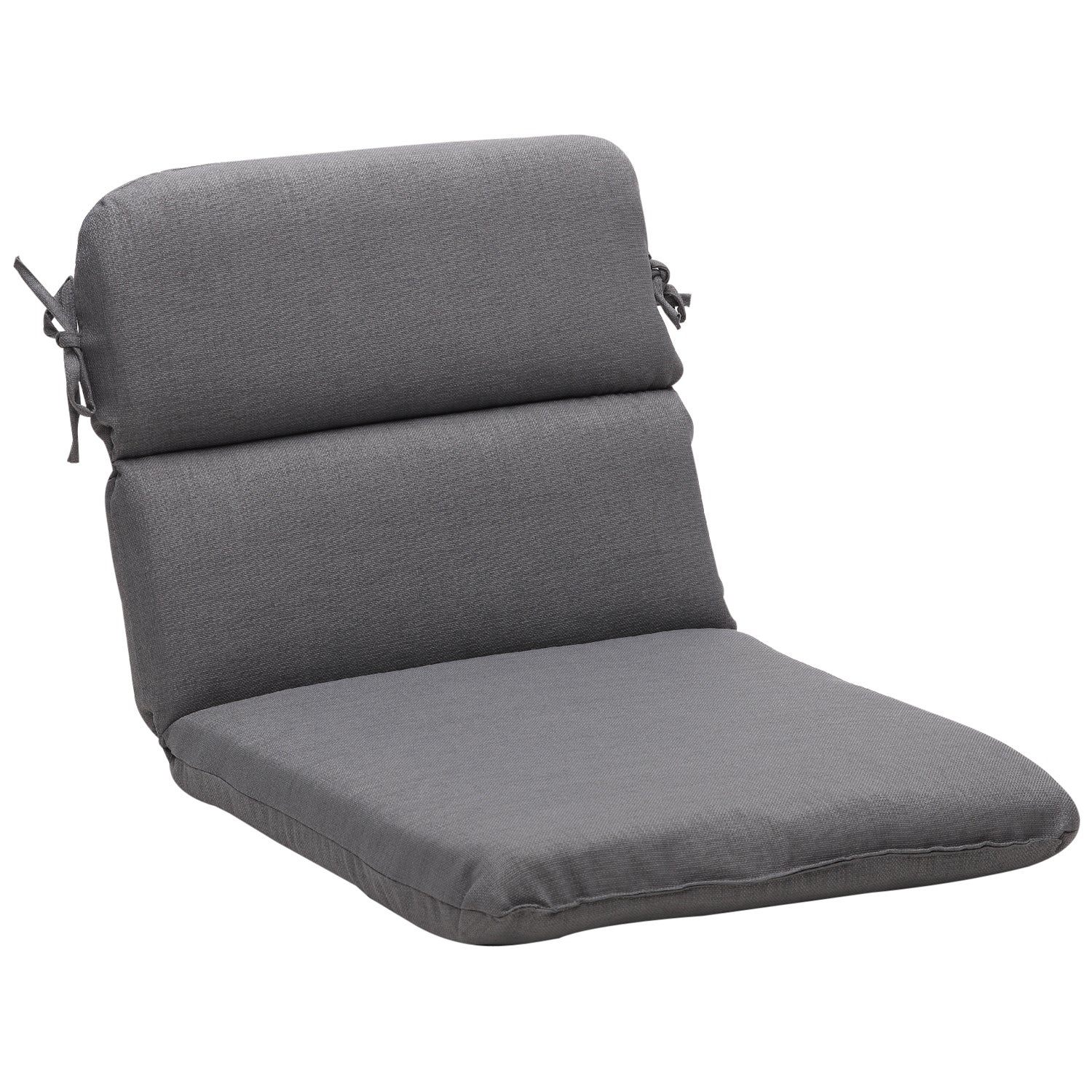 Rounded Solid Gray Textured Outdoor Chair Cushion