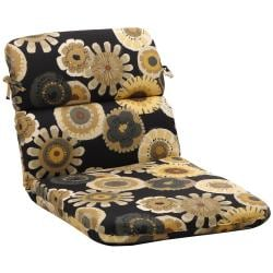 Rounded Black/ Yellow Floral Outdoor Chair Cushion