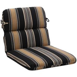 Rounded Black/ Tan Stripe Outdoor Chair Cushion