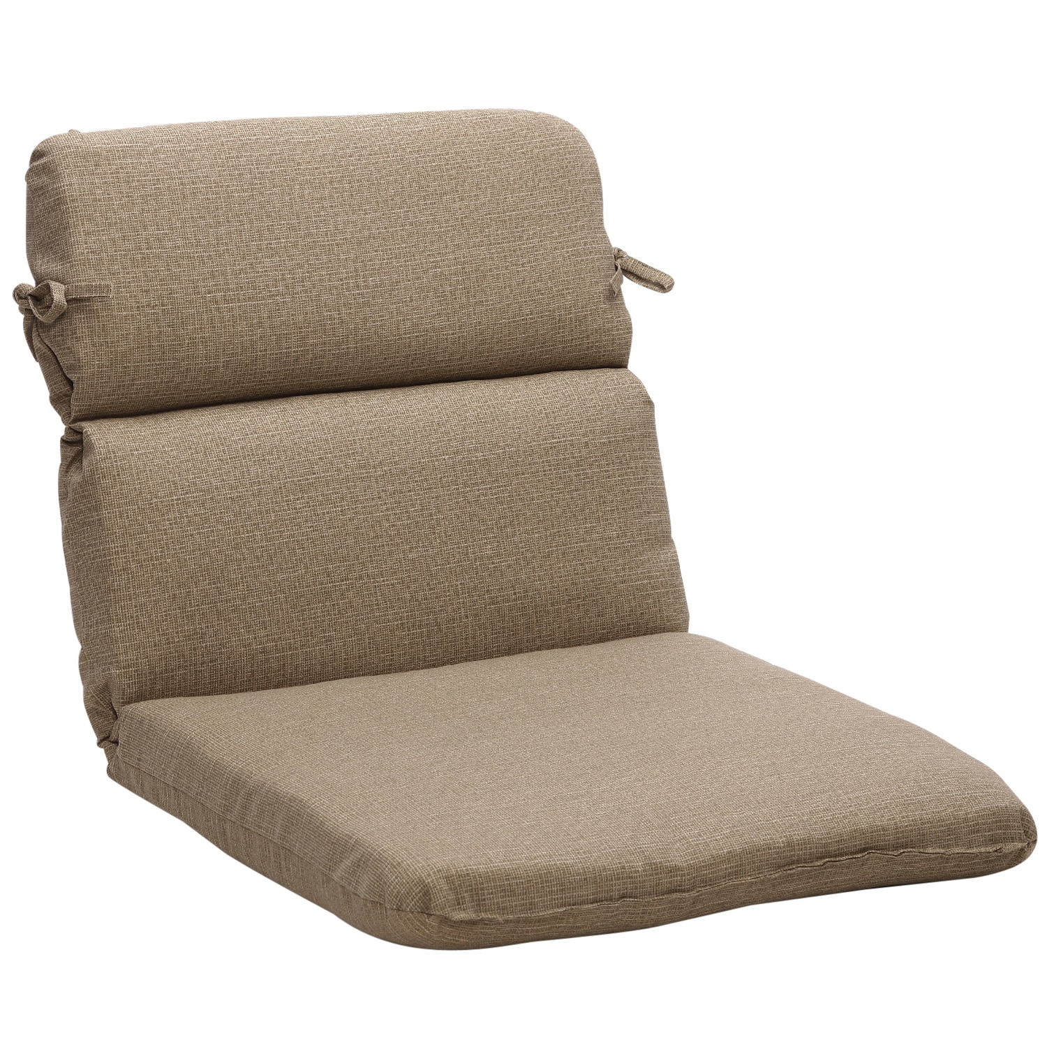 Rounded Solid Taupe Textured Outdoor Chair Cushion