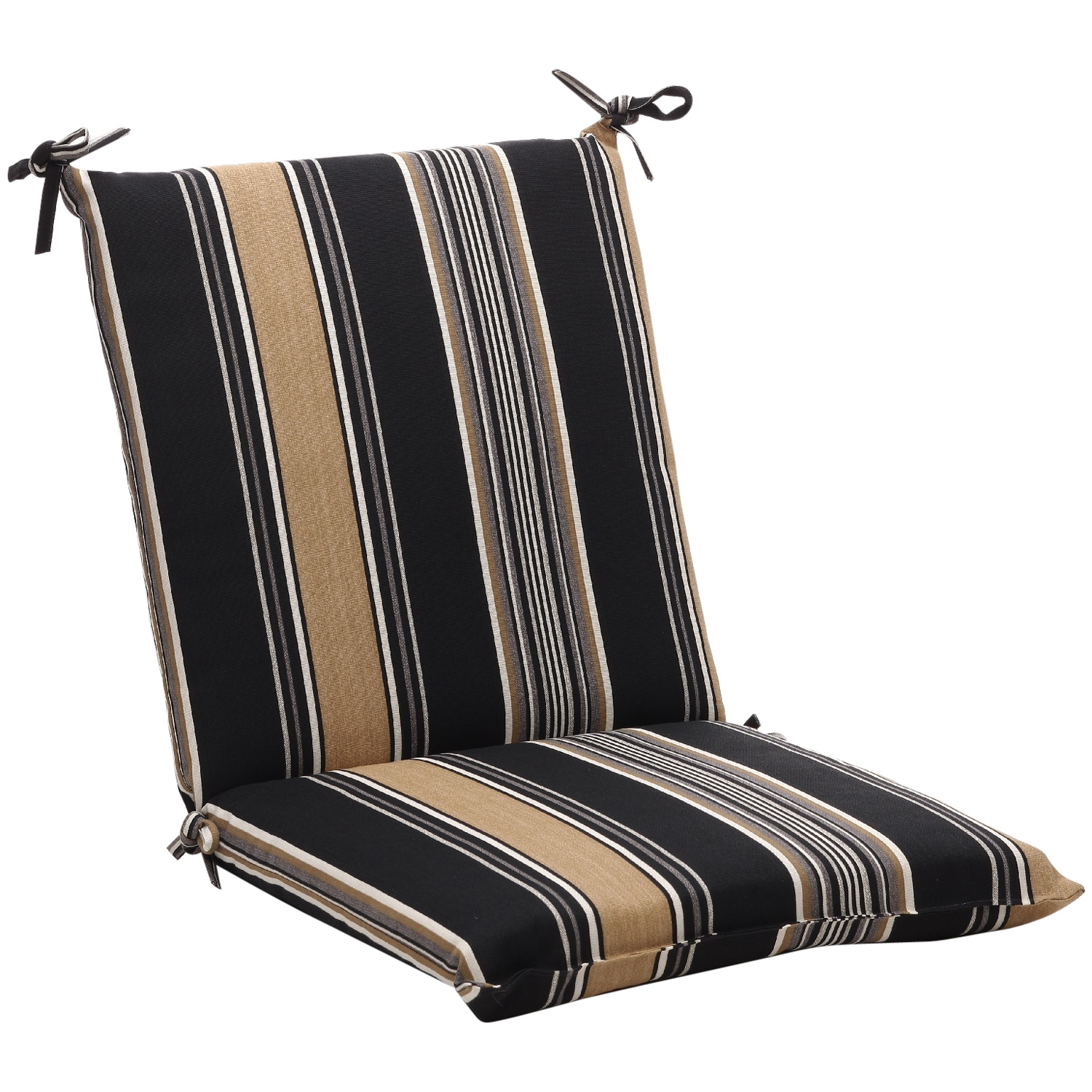 Squared Black Tan Stripe Outdoor Chair Cushion