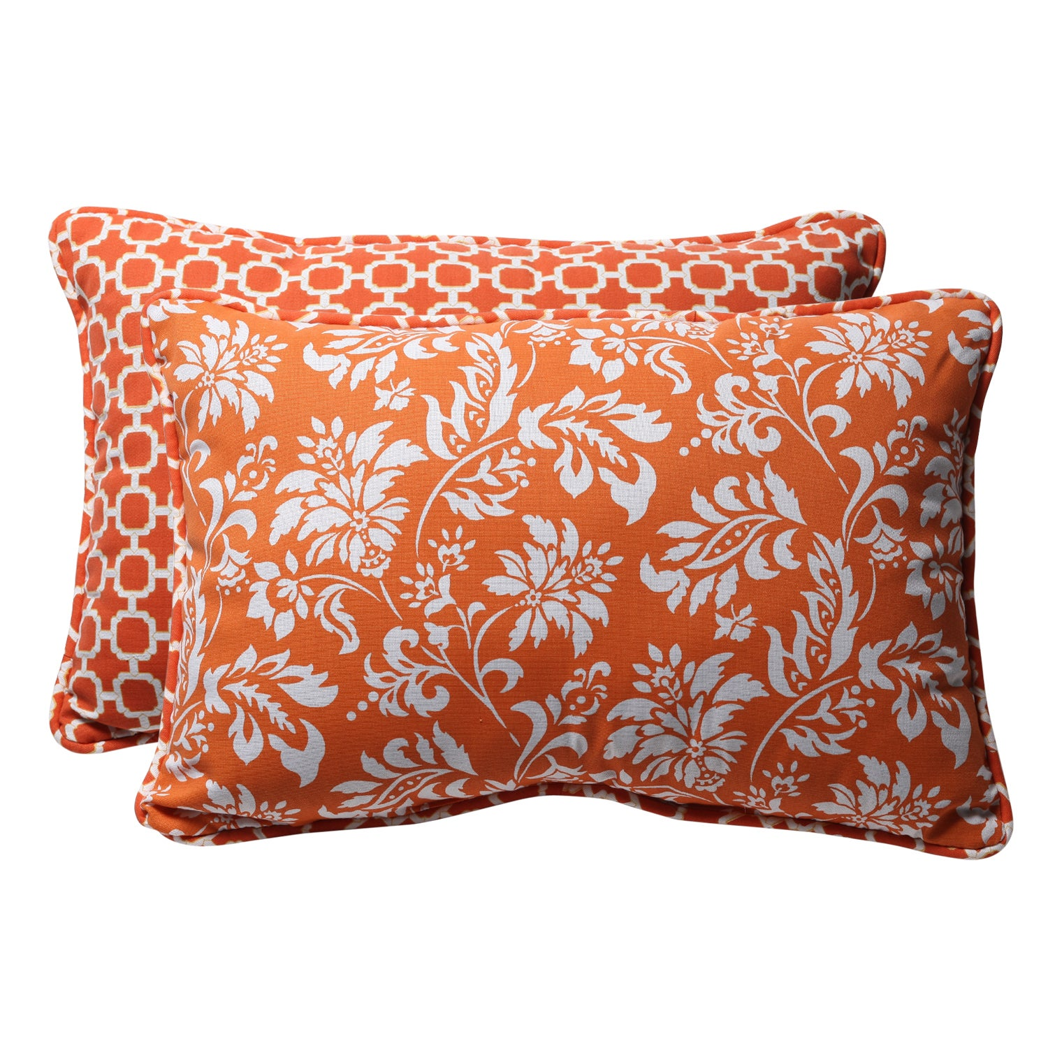 Decorative Orange and White Geometric and Floral Reversible Rectangle Outdoor Toss Pillows (Set of 2)