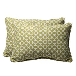 Decorative Green and White Geometric Rectangle Outdoor Toss Pillow (Set of 2)