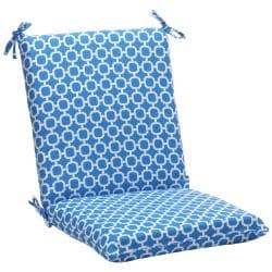 Pillow Perfect Blue/ White Geometric Squared Outdoor Cushion