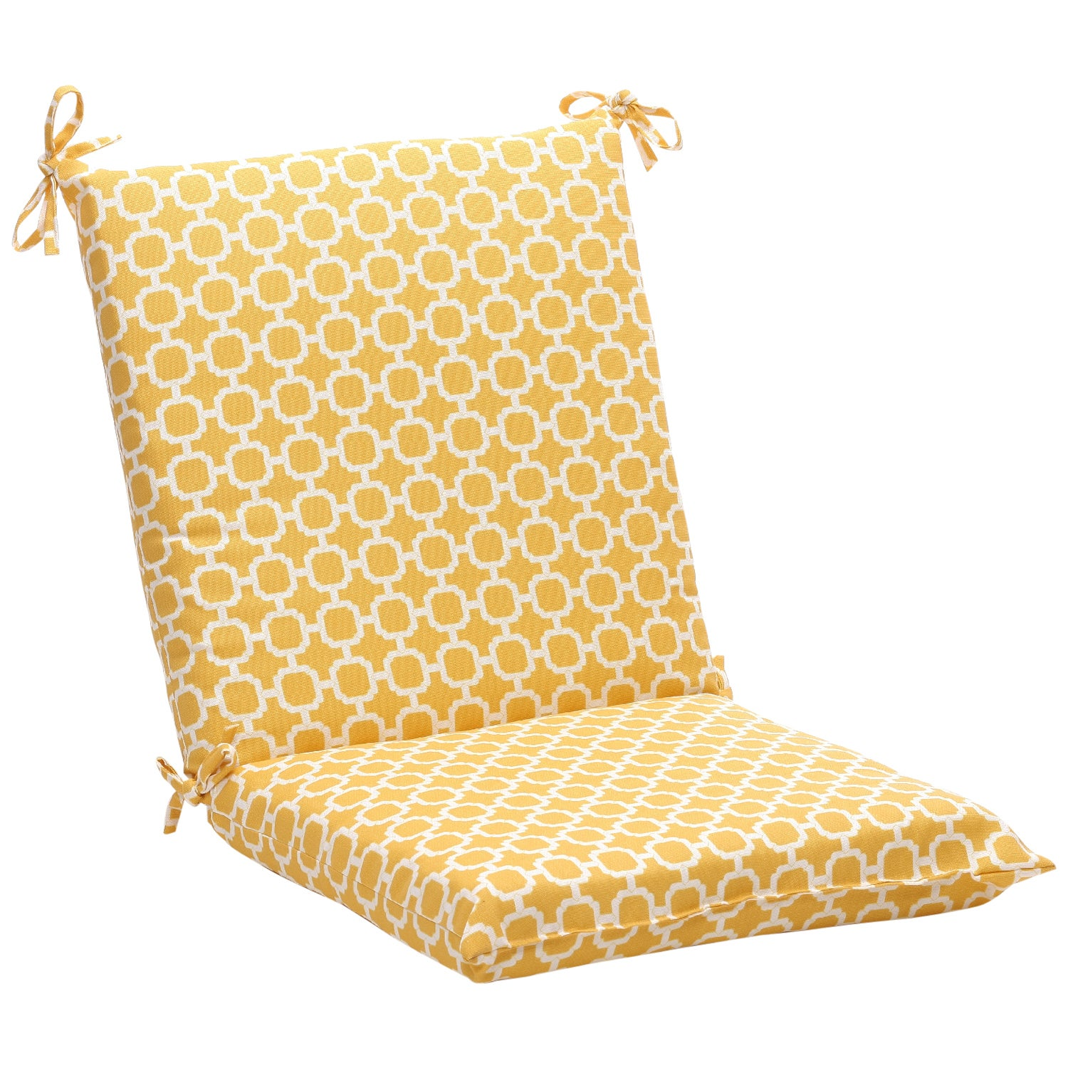 Squared Yellow White Geometric Outdoor Chair Cushion