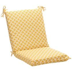 Squared Yellow/ White Geometric Outdoor Chair Cushion