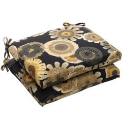 Squared Black/ Yellow Floral Outdoor Seat Cushion