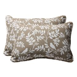 Decorative Taupe Floral Rectangle Outdoor Toss Pillow (Set of 2)