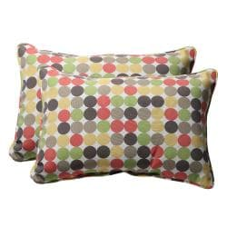 Decorative Multicolored Polka Dots Rectangle Outdoor Toss Pillow (Set of 2)