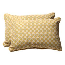 Decorative Yellow and White Geometric Rectangle Outdoor Toss Pillows (Set of 2)
