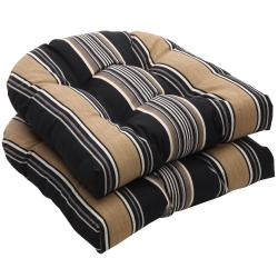 Outdoor Black and Tan Stripe Wicker Seat Cushions (Set of 2)