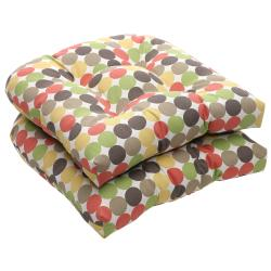Outdoor Multicolored Polka Dots Wicker Seat Cushions (Set of 2)