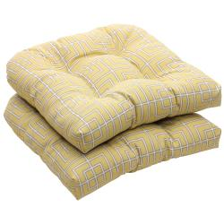 Outdoor Yellow and Gray Geometric Wicker Seat Cushions (Set of 2)