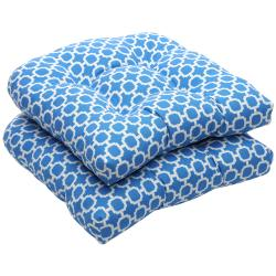 Outdoor Blue and White Geometric Wicker Seat Cushions (Set of 2)