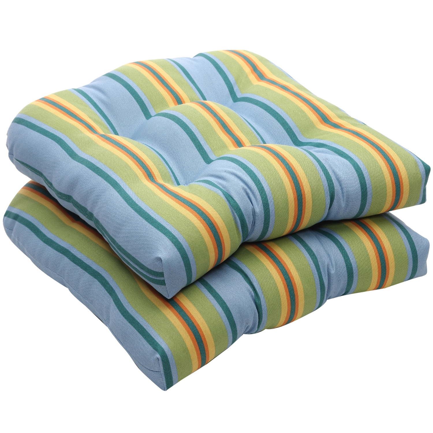Outdoor Blue and Green Stripe Wicker Seat Cushions (Set of 2)