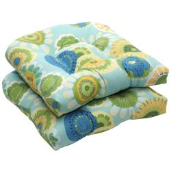 Outdoor Blue and Green Floral Wicker Seat Cushions (Set of 2)
