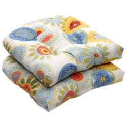 Outdoor Multicolored Floral Wicker Polyester Seat Cushions (Set of 2)