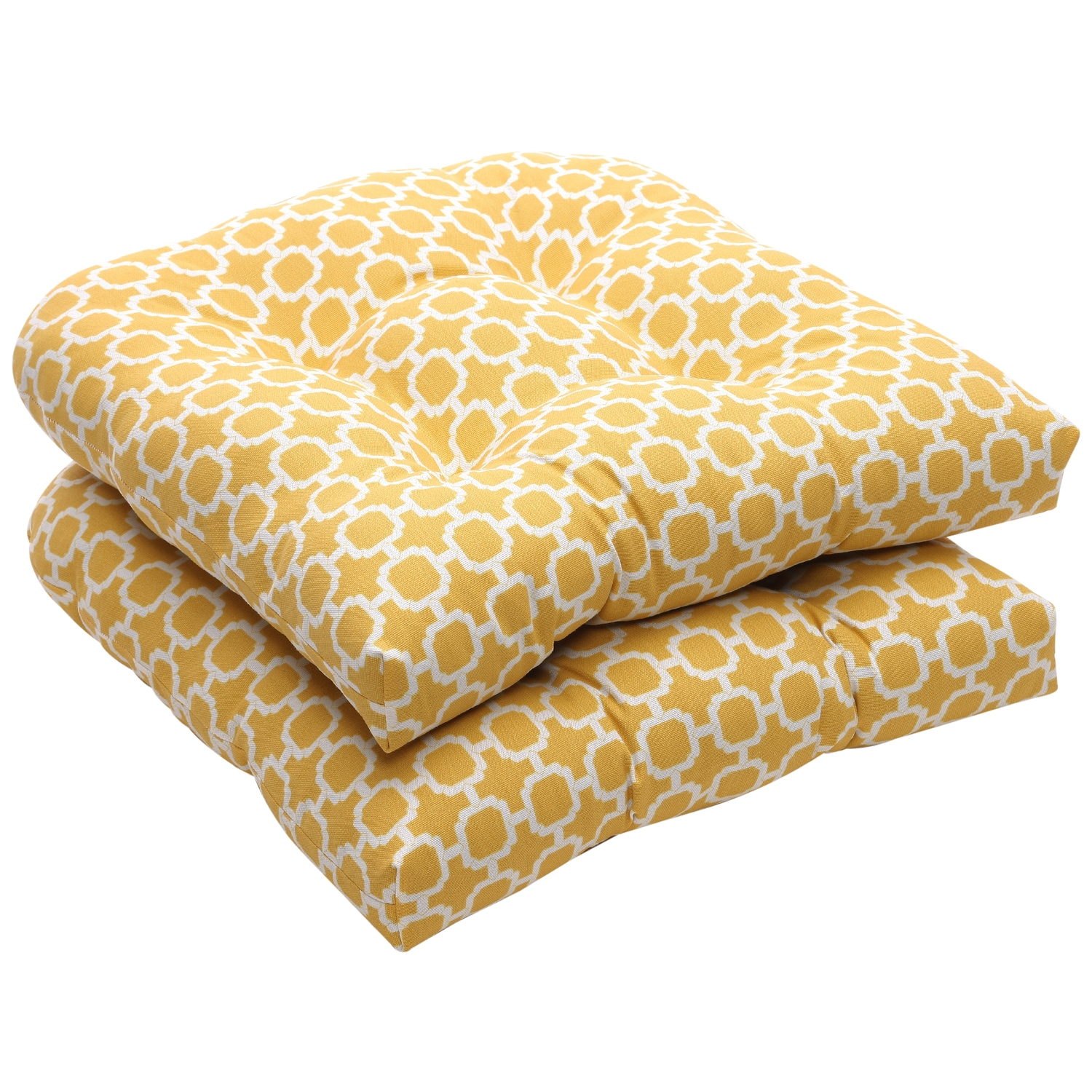 Outdoor Yellow and White Geometric Wicker Seat Cushions