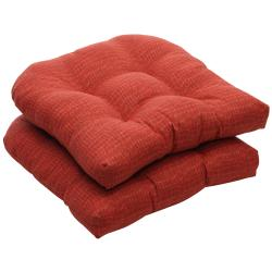 Outdoor Red Animal Print Wicker Seat Cushions (Set of 2)