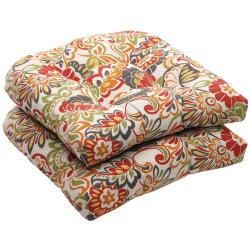 Outdoor Multicolored Floral Wicker Seat Cushions (Set of 2)