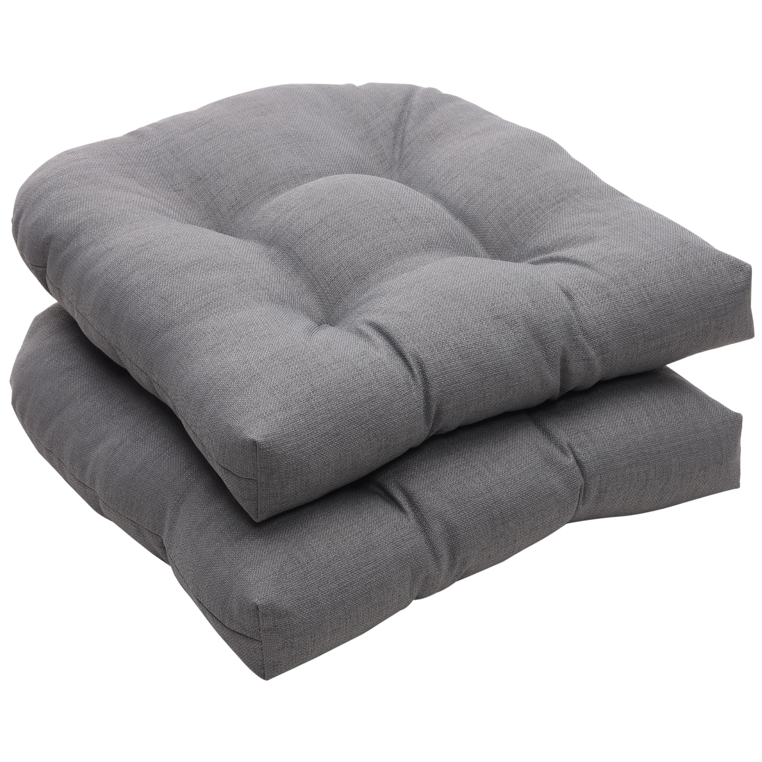 Outdoor Gray Textured Solid Wicker Seat Cushions Set of 2