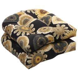Outdoor Black and Yellow Floral Wicker Seat Cushions (Set of 2)