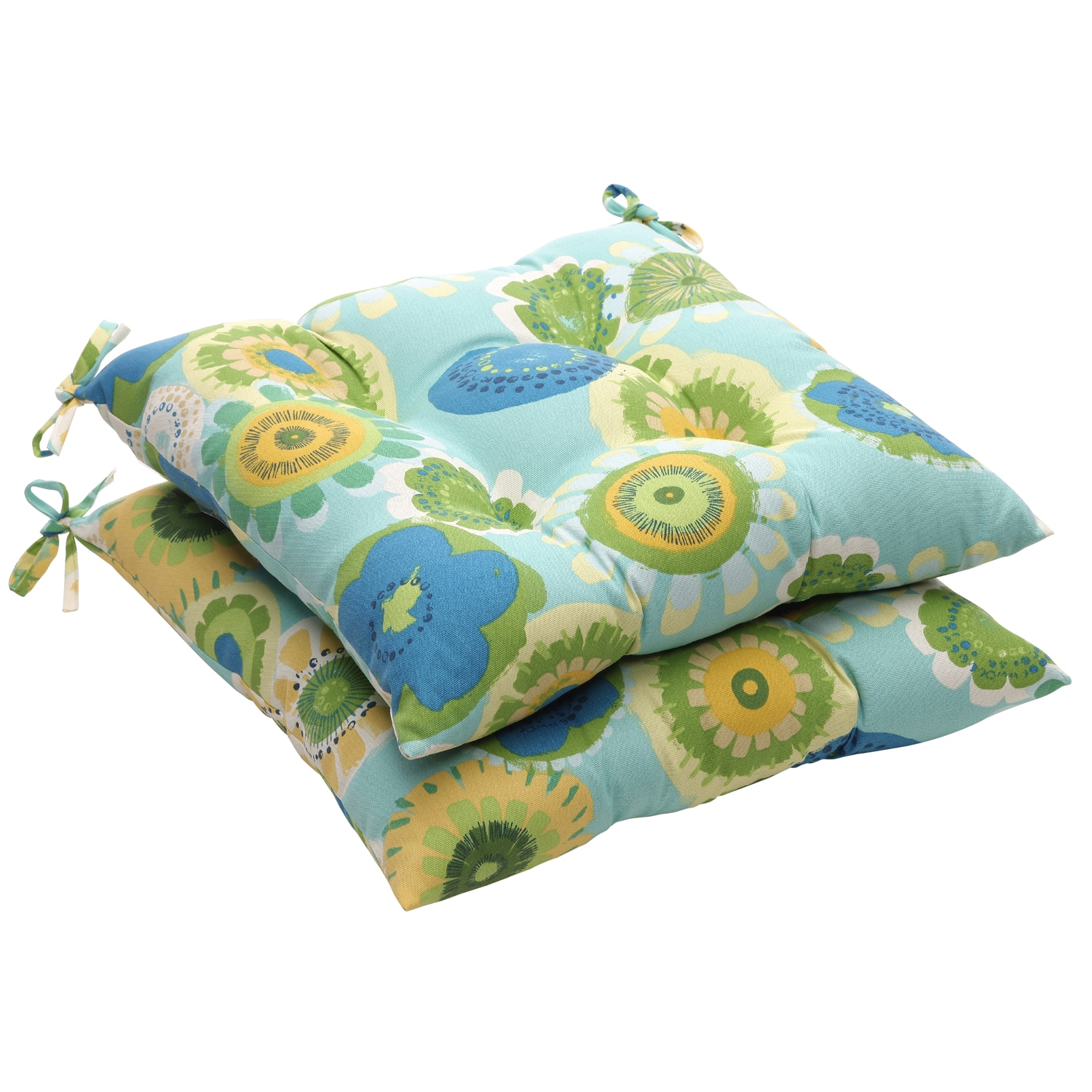 Blue/ Green Floral Outdoor Tufted Seat Cushions (Set of 2)