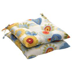 Multicolored Floral-Print Outdoor Tufted Seat Cushions (Set of Two)