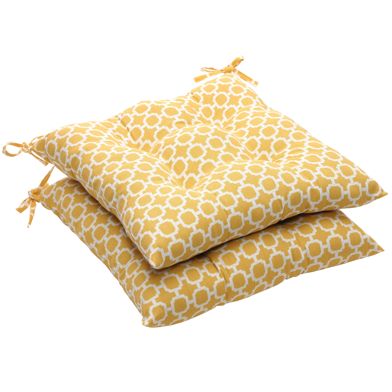 Yellow White Geometric Outdoor Tufted Seat Cushions Set