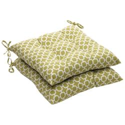 Outdoor Green/ White Geometric Tufted Seat Cushions (Set of 2)